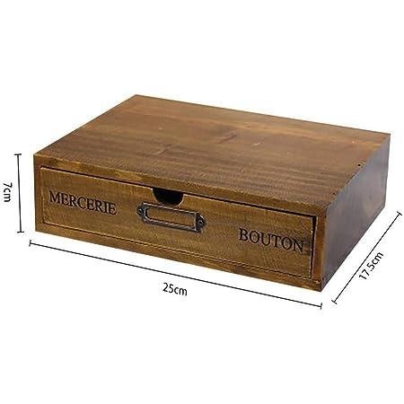 Maritown Organisateur de Bureau en Bois avec tiroir, boîte de Coffre en Bois. Armoire de classement en Bois. Tirez sur Les tiroirs. Fournitures de Bureau Fixes (Couleur Originale).