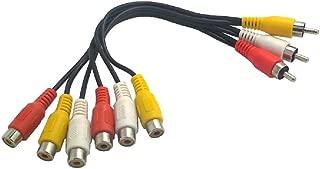 Wyvern Triple RCA Stereo Audio and Video Cable - Male to Dual female / AV Splitter Composite 3 Rca Av Video Audio Cable 0.72 feet (22cm) Wv-av1to2-22
