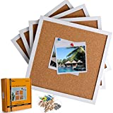 Board2by Cork Bulletin Boards 12 X 12, White Framed Cork Tiles, Wall Mounted Corkboards for Walls, Small Pin Board 1/2 Inch Thick, Mini Wall Bulleting Board with 16 Push Pin Wood Clips, 4 Pack