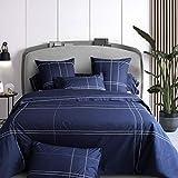 Tradition des Vosges - Sábana bajera (percal de algodón de 80 hilos, 180 x 200 cm, gorro de 35 cm), color azul marino