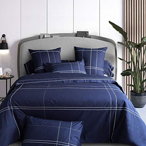Tradition des Vosges - Funda de almohada bordada de percal de algodón de 80 hilos, 50 x 75 cm, percal de 80 hilos, color azul marino