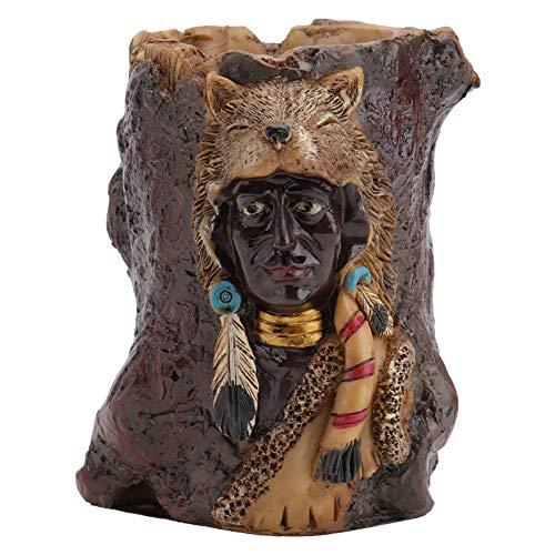 Homoyoyo Portalápices de Diseño Indio Tocón de Árbol Organizadores de Escritorio de Los Indios Americanos Decoración de Resina Escultura Ornamento Decoración de Paisaje