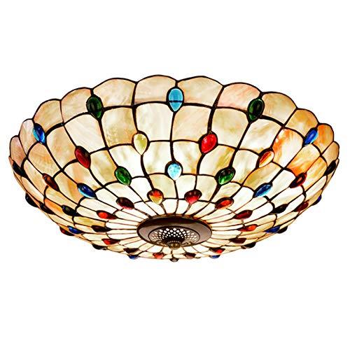 ZHANGDA Lámpara de techo estilo Tiffany vintage, hecha a mano, concha natural Phoenix color trasero perlas de cristal sombra empotrada para dormitorio, 60 cm