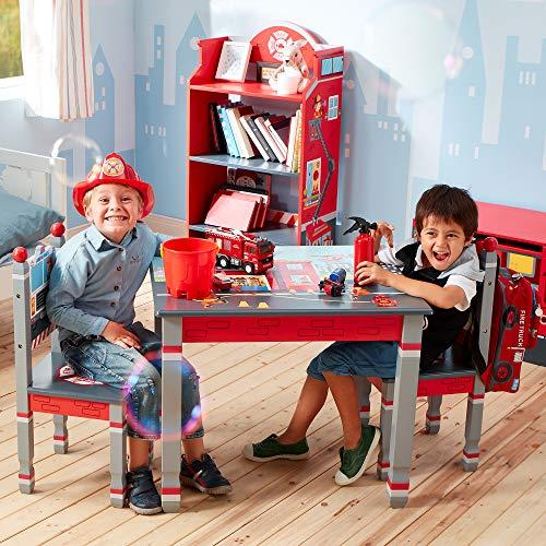 Fantasy Fields Kids Wooden Hand Painted Lead Free Tisch und 2 Stühle, Mischung aus MDF und Massivholz (Eco – freundlich), Rot/Little Fire Fighters