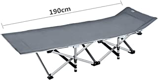 Recliner Chair Gray Patio Camping Bed Sun Lounger Cot Guest Bed for Heavy Duty People, Folding Portable Bed for Camping, Traveling and Home Lounging, Support 400kg