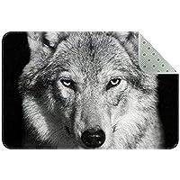 エリアラグ軽量 オオカミの黒い背景 フロアマットソフトカーペットチホームリビングダイニングルームベッドルーム