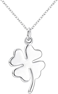 Fashion Jewelry 925 Sterling Silver Lucky Four Leaf Clover Pendant Necklace, 18