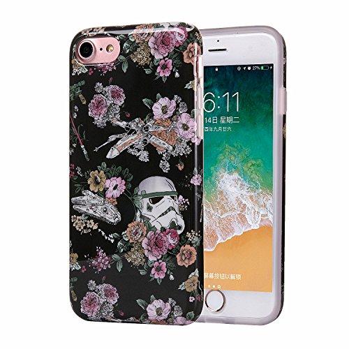 ZQ-Link Funda iPhone 8 Funda iPhone 7 Premium TPU Impresión Concha Suave Ultra Slim/Resistente a los Arañazos Flexible Bumper Phone Case Cover - Diseño Creativo Planta Zombie Flor