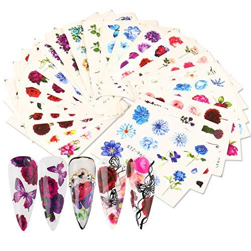 MWOOT 24 Fogli Adesivi Misti per Unghie, Nail Art Water Transfer Sticker Home Decalcomanie per Manicure con Fiori per Le Donne Bomboniere per Le Unghie Fai-da-Te Decalcomanie