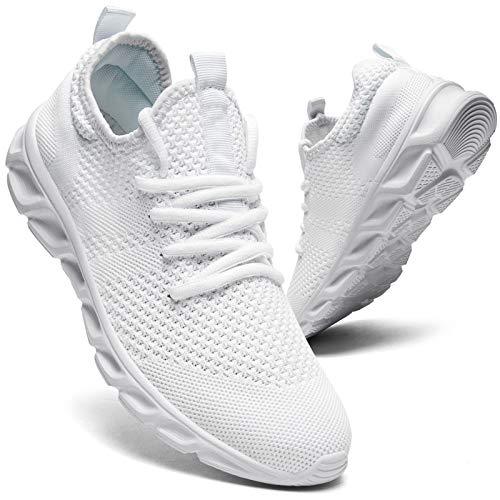 Zapatillas de correr para hombre, para caminar, tenis, deporte, de peso ligero, gimnasio, fitness, correr, casual, zapatillas de deporte para hombres, color Blanco, talla 45 EU