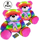 The Noodley Light Up Teddy Bear Glowing Stuffed Animal LED Plush Sleep Toy for Toddlers, Kids, Boys & Girls, Valentines, Easter, Baby, Rainbow 16 inch 2 Pack
