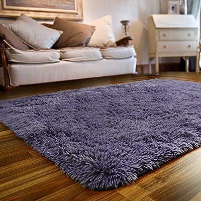 JOYFEEL Soft Fluffy Shag Area Rugs for Bedroom Living Room - Large Fuzzy Fur Carpet Nursery Kids Playroom Classroom Plush Decor - Furry Rug Used for Floor/Tile Non-Slip - Grey Purple 4x6 ft