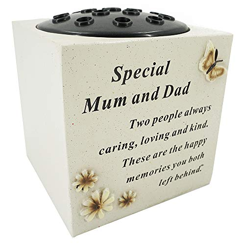 Special Mum and Dad Graveside Memorial Flower Pot Verse Grave Vase Butterfly