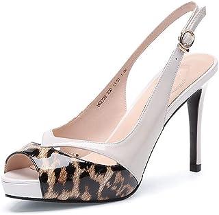 9657610b67 SHINIK Mujeres Peep Toe Sandalias 2019 Primavera Verano Cuero Tacones Altos  Plataforma de Leopardo Hebilla Zapatos