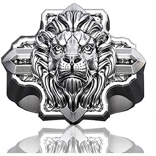 LH&BD Viking Lion Head Ring for Men Cross Ring Silver Black Cool Gothic Shield Totem Punk Hip Hop Signet Amulet,5