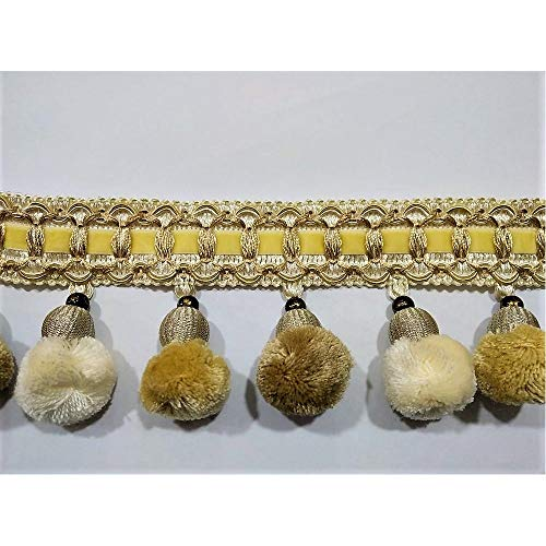 TOMASELLI MERCERIA 50 Cm Passamaneria Cipollina PON PON Velluto Perla Liscia Bronzo 3 Colori Shabby Nastro Alto 8 Cm
