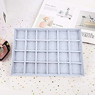 FORTMATE Jewelry Trays Organizer Watch Ring Storage Drawer Display Earring Bracelet Necklace Show Case for Home Drawer, Trade Show (Gray, 24 Grid)