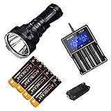 Holiday Set: Acebeam K70 Long Thrower High Intensity LED Flashlight XHP35 HI LED -1300 meter w/XTAR VC4 Charger & 4x Acebeam Batteries & TIP Keychain Light