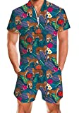 AIDEAONE Men Beach Rompers 3D Graphic Tropical Leopard One Piece Short Sleeve Workout Overalls Party Design 80S 90S Outfits X-Large