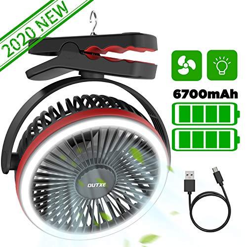 OUTXE Camping Fan with LED Light 6700mAh Clip-On Fan with Hanging Hook USB Rechargeable Tent Fan Portable Fan