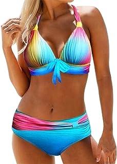 2 قطعة ملابس سباحة نسائية بدون ظهر بيكيني مرفوع لأعلى ثوب سباحة نسائي بيكيني عالي الخصر JFYCUICAN (اللون: أخضر، المقاس: L)