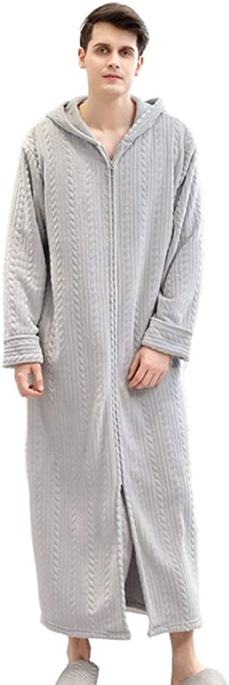depot Men's Zipper Front Hooded Nightgown Chicago Mall Robe Flannel Long Over Warm