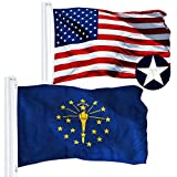 G128 Combo Pack: USA American Flag 3x5 Ft Embroidered Stars & Indiana State Flag 3x5 Ft Embroidered