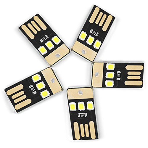 Warm Home Decoratie, 0,5 W, 3 LED's, 5 V, 2835 SMD, 22 lm, USB, voor laptop, powerbank, witte mini-zaklamp, 5 stuks