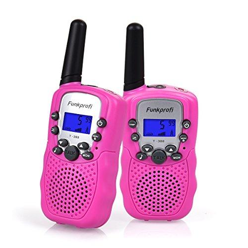 Funkprofi Walkie Talkies für Kinder, T-388 Funkgeräte für Kids ab 3 Jahre PMR 446 Reichweite bis zu 3 km 8 Kanäle für Einkaufen, Freizeitpark, Zelten, Shopping, Indoor – gespräch 2 Stück Pink