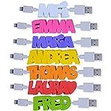 Etiqueta 3D para cable de cargador - Clip con letras en relieve – Idea de regalo - 15 colores para elegir - 100% personalizable - Para adaptar en tus cables de teléfono, tableta y otros accesorios