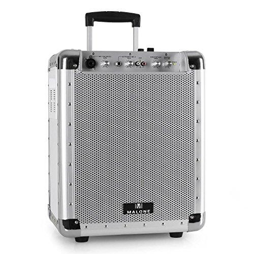 "Malone PAS1 Streetrocker - PA-Lautsprecherbox, mobiler PA-Lautsprecher, Audiosystem, 50 Watt RMS, 16,5 cm (6,5\"")-Tieftöner, MP3-fähiger USB-Port/SD-Slot, Bluetooth, silber"