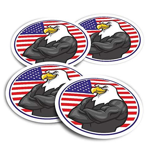 Pegatinas de vinilo (juego de 2) 10 cm – American Bald USA Eagle Flag divertidas calcomanías para ordenadores portátiles, tabletas, equipaje, reserva de chatarra, frigoríficos #4389