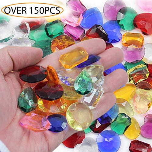 Allstarco KraftGenius Over 150 PCS Assorted Pirate Treasure Gems 1LBS for Party & Games, Table Scatter, Vase Fillers, Wedding Decor Gemstones Favors