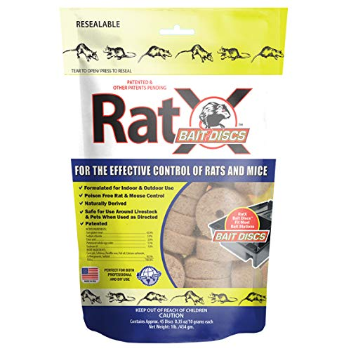 EcoClear Products 620118, RatX Bait Discs, All-Natural Non-Toxic Humane Rat and Mouse Rodenticide, 1 lb. Bag Contains 45 Discs