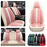 Car Seat Covers 5 Seats Full Set for DS DS3 Cabrio DS4 Crossback DS5 Faux Leather Protective Cover Beige&Pink