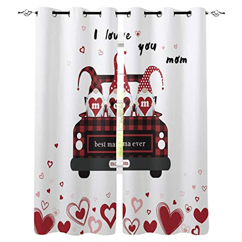 Window Curtains for Bedroom - Grommet Thermal Insulated Room Darkening Semi Sheer Curtains for Living Room, Set of 2 Panels (52x52 Inch, I Love You Best Mama Ever Cute Gnomes and Red Truck)