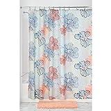 iDesign Elsa Duschvorhang | Badewannenvorhang in 183,0 cm x 183,0 cm | tolles Duschvorhang Design mit pastellfarbenen Blumen | Polyester koralle/bunt
