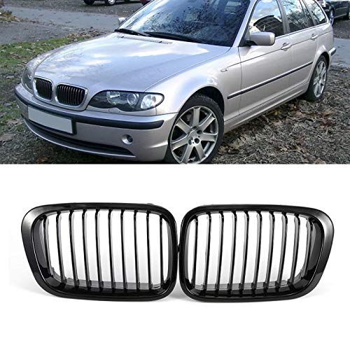 Autorennen-Grills 1 Paar Front Wide Ierengitter Grill Gloss Black Ierengitter Fit For BMW E46 318I 320I 325I 330I 1998-2001 Kidney Frontgrill