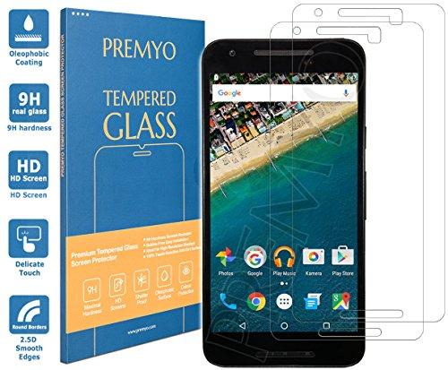 PREMYO 2 Piezas Cristal Templado Protector de Pantalla Compatible con Nexus 5X Dureza 9H Bordes 2,5D Sin Burbujas contra Arañazos