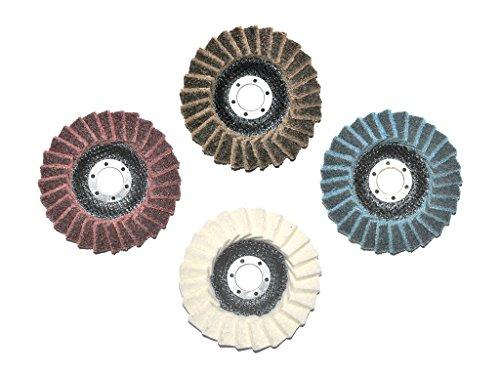 Set mit insgesamt 4 Stück 115mm Polierfächerscheiben. Je 1x Fein/Fine, Mittel/Medium, Grob/Coarse und Filz Polierfächerscheibe. 22.23mm für Winkelschleifer.