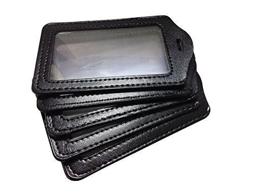 WZYuan 5pcs black business ID credit card faux leather badge holder pass card pouch case