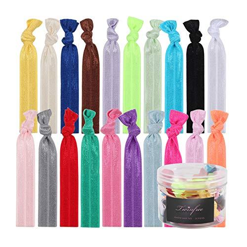 Twinfree No-Damage Ribbon Hair Ties- No Crease Stretchy Elastic Ponytail Holders Hair Bands, Solid Colors(20 Pieces)