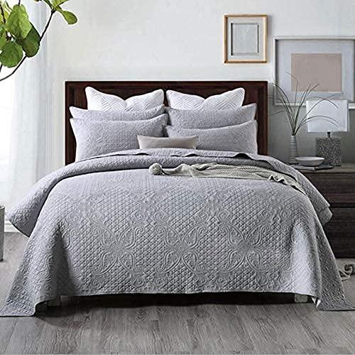 Edredón de aire acondicionado bordado Colcha de colcha Doble nórdico de lujo Juego de cama de 3 piezas Colchas / mantas acolchadas de algodón puro Funda de cama multifunción All Seasons + 2 fundas de