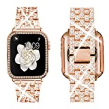 Supoix Compatible with Apple Watch Band 40mm + Case, Women Jewelry Bling Diamond Rhinestone Replacement Metal Strap &Soft TPU Protector Case for iWatch Series 6/5/4/se(Rose gold)