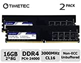 Timetec Extreme Performance Hynix IC DDR4 3000MHz PC4-24000 CL16 1.35V Unbuffered Non-ECC Single Rank Designed for Gaming and High-Performance Compatible with AMD and Intel(16GB(8GBx2))