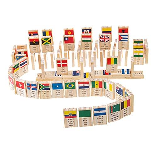 Sconosciuto 100pcs Bandiera Domino di Legno Giocattoli Educativi Costruzione Regali di Festa Natale