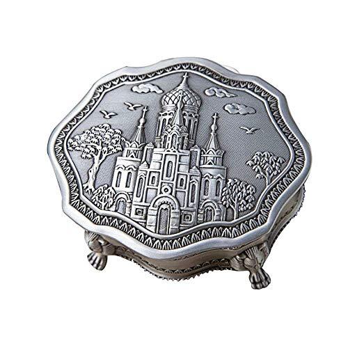 YLB Caja de Almacenamiento de joyería Retro Europea de Metal Irregular Caja de joyería de Escritorio del hogar Vintage Caja de joyería de Metal Vintage (Color: Plata, Tamaño: 10x10x4.4cm)