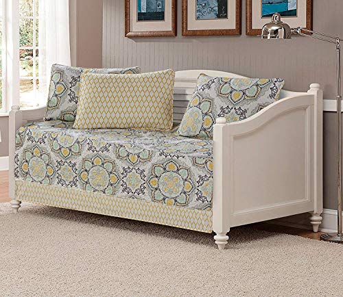 Fancy Collection 5pc Day Bed Cover Modern Reversible White Yellow Green Grey New (Flowers Yellow)