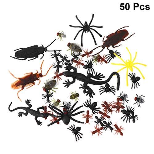Amosfun bichos realistas Insectos Serpientes Animales prácticos Divertidos Juguetes de Broma para niños pequeños de Halloween 50pcs