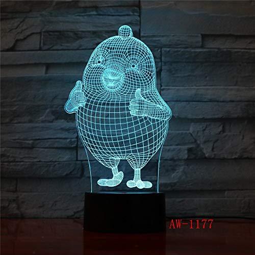 Jiushixw 3D acryl nachtlampje met afstandsbediening van kleur veranderende tafellamp duim hoog cartoon leuke kip nacht desktop stereotype verandering cadeau lichten kleine tafel